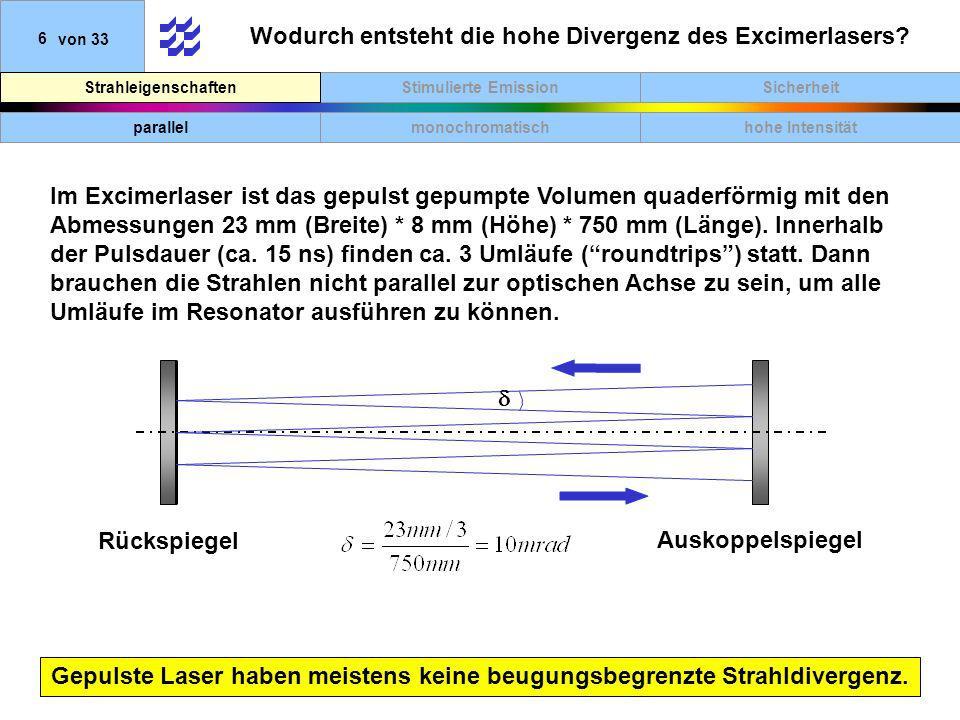 SicherheitStimulierte EmissionStrahleigenschaften 6von 33 Wodurch entsteht die hohe Divergenz des Excimerlasers? Gepulste Laser haben meistens keine b