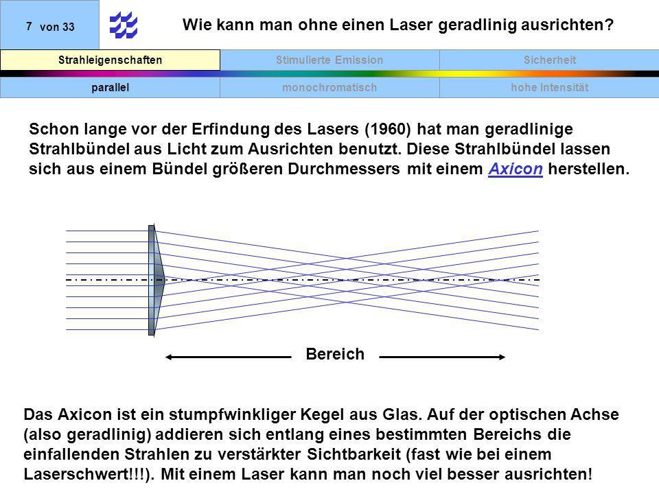SicherheitStimulierte EmissionStrahleigenschaften 7von 33 Wie kann man ohne einen Laser geradlinig ausrichten? parallelmonochromatischhohe Intensität