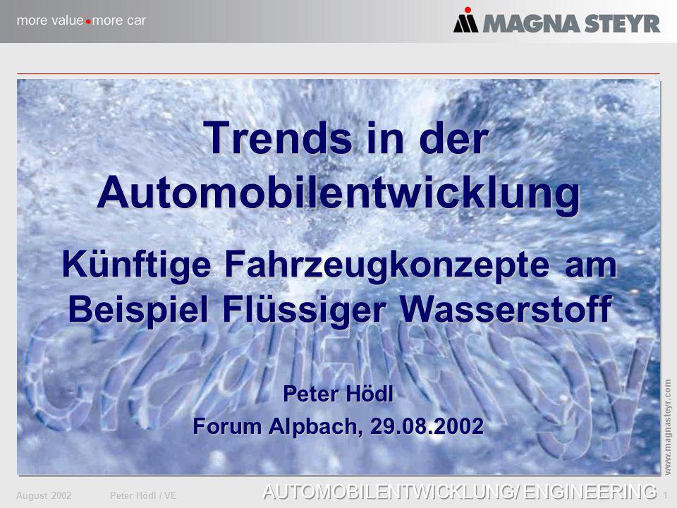 August 2002Peter Hödl / VE 22 www.magnasteyr.com AUTOMOBILENTWICKLUNG / ENGINEERING Recyclinganforderungen EU Altfahrzeug- RL (2002) Umwelt- Daten EU Elektronikschrott- RL (2004) EU Verbrennungs- RL (2004) Standard- Dokumentation
