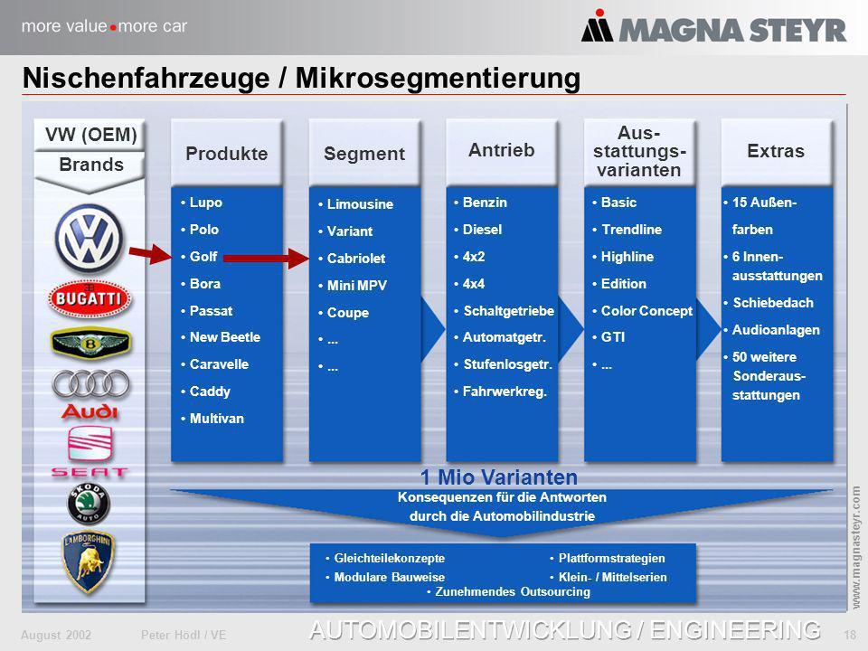 August 2002Peter Hödl / VE 18 www.magnasteyr.com AUTOMOBILENTWICKLUNG / ENGINEERING Nischenfahrzeuge / Mikrosegmentierung Produkte Segment Extras Antr