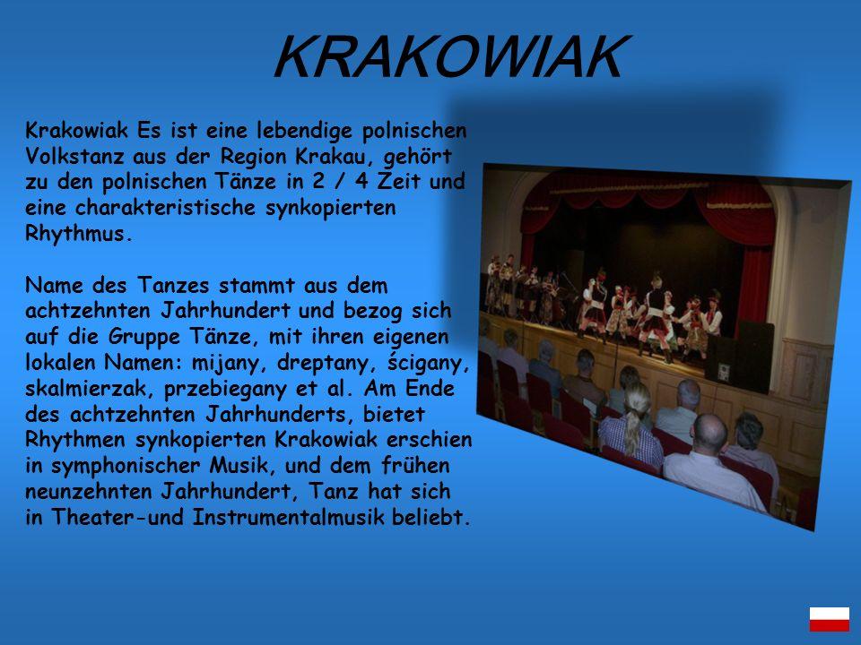 Krakowiak Es ist eine lebendige polnischen Volkstanz aus der Region Krakau, gehört zu den polnischen Tänze in 2 / 4 Zeit und eine charakteristische sy