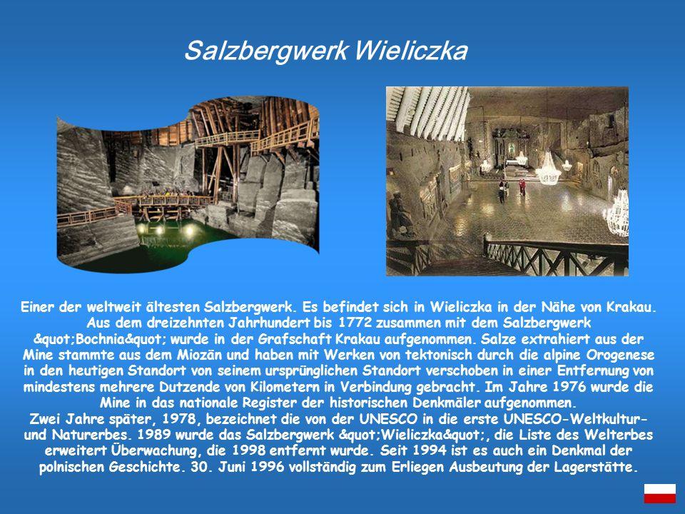 Einer der weltweit ältesten Salzbergwerk. Es befindet sich in Wieliczka in der Nähe von Krakau. Aus dem dreizehnten Jahrhundert bis 1772 zusammen mit