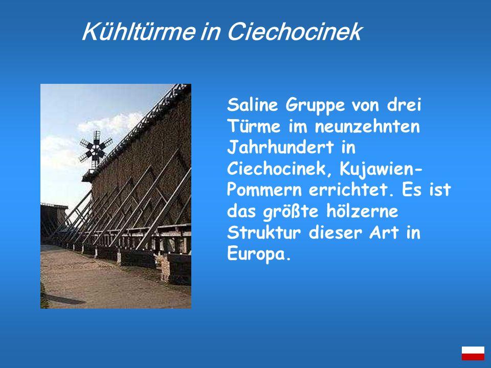 Saline Gruppe von drei Türme im neunzehnten Jahrhundert in Ciechocinek, Kujawien- Pommern errichtet. Es ist das größte hölzerne Struktur dieser Art in