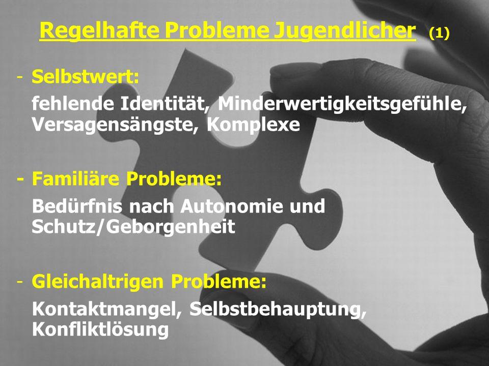 Regelhafte Probleme Jugendlicher (2) -Autoritätsprobleme: Vater -/ Mutterkonflikt, Auseinandersetzungen mit Pädagogen und Vorgesetzten, Probleme mit autoritären Strukturen -Arbeits- und Leistungsverhalten: Unvollständige Bildung, schwankende Leistung, Motivationsprobleme, Überforderungsgefühl, Versagensängste -Sinnprobleme: Wanderer zwischen zwei Welten, existenzielles Vakuum