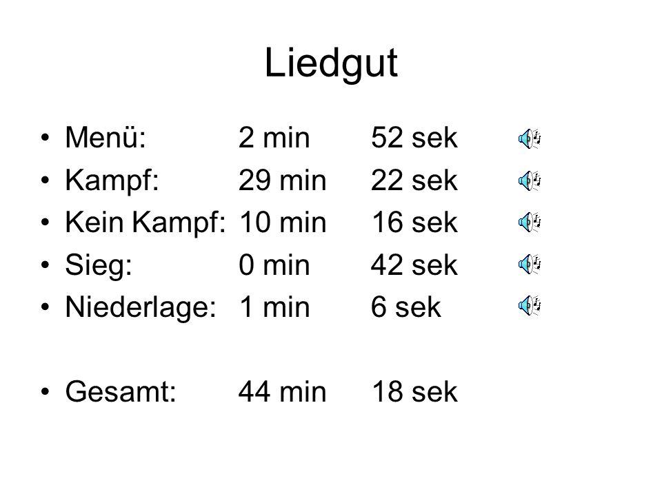 Liedgut Menü: 2 min 52 sek Kampf: 29 min 22 sek Kein Kampf: 10 min 16 sek Sieg: 0 min 42 sek Niederlage: 1 min 6 sek Gesamt:44 min18 sek