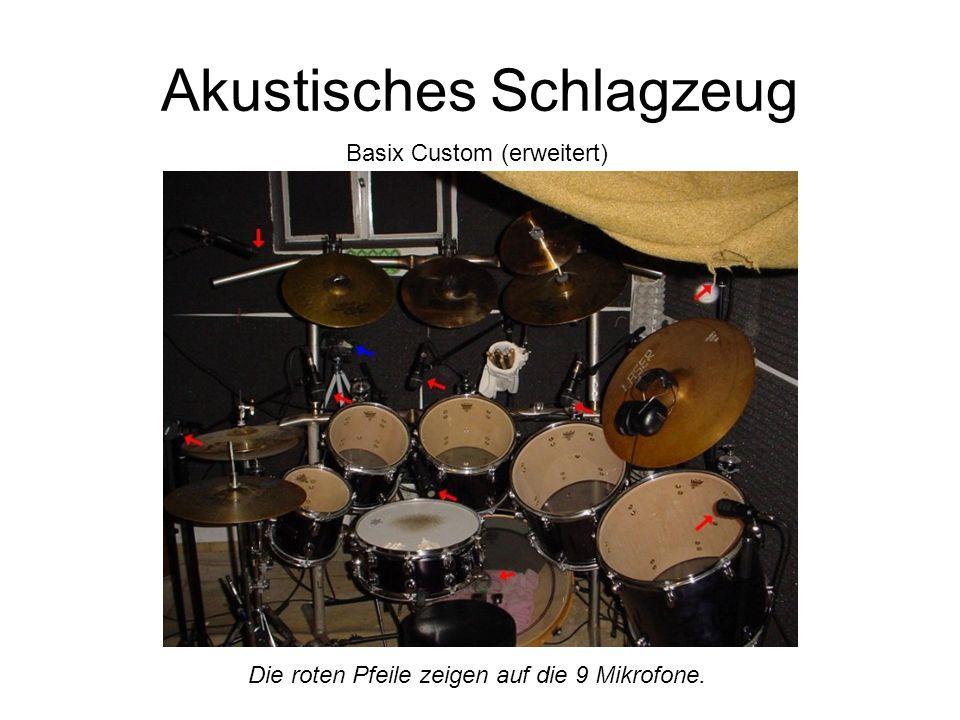 Akustisches Schlagzeug Basix Custom (erweitert) Die roten Pfeile zeigen auf die 9 Mikrofone.