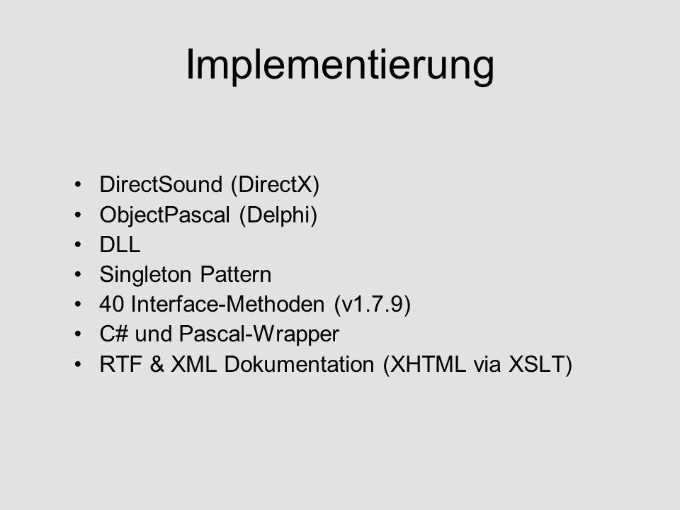 Vorladen von Tracks void RegisterMusicFile(string MusicFile, int MusicAffiliation); void StartMusic(int MusicAffiliation);
