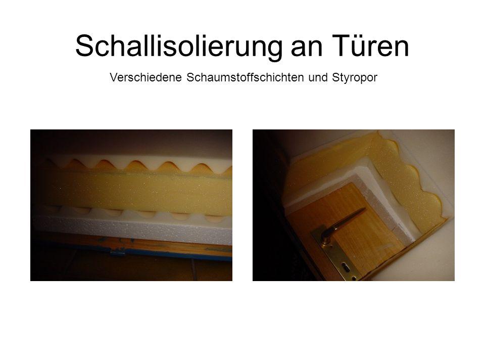 Schallisolierung an Türen Verschiedene Schaumstoffschichten und Styropor