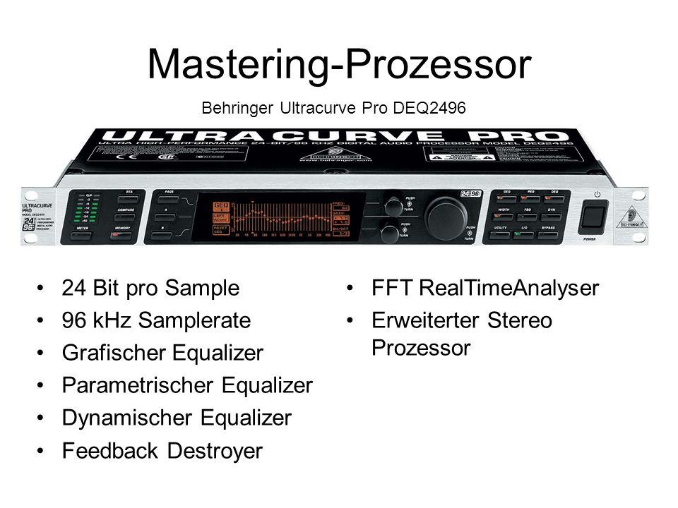 Mastering-Prozessor Behringer Ultracurve Pro DEQ2496 24 Bit pro Sample 96 kHz Samplerate Grafischer Equalizer Parametrischer Equalizer Dynamischer Equalizer Feedback Destroyer FFT RealTimeAnalyser Erweiterter Stereo Prozessor