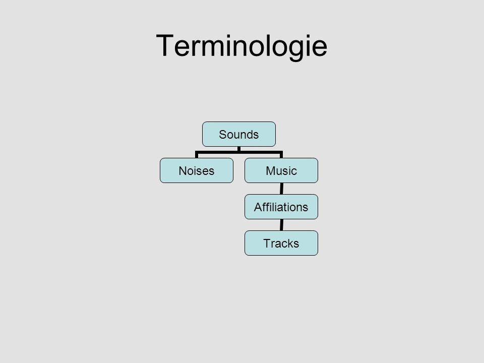 Terminologie Sounds NoisesMusic Affiliations Tracks