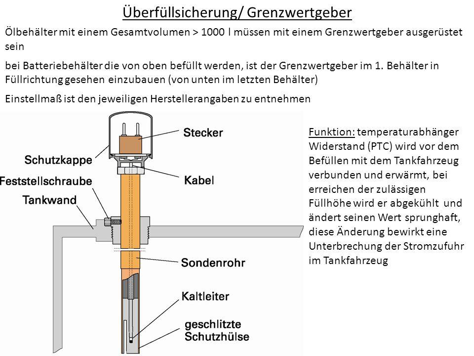 Überfüllsicherung/ Grenzwertgeber Ölbehälter mit einem Gesamtvolumen > 1000 l müssen mit einem Grenzwertgeber ausgerüstet sein bei Batteriebehälter di