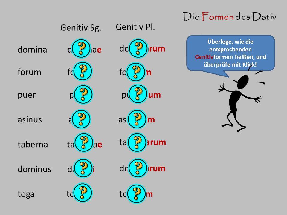 Die Formen des Dativ Überlege, wie die entsprechenden Genitivformen heißen, und überprüfe mit Klick! domina Genitiv Sg. Genitiv Pl. dominae dominarum