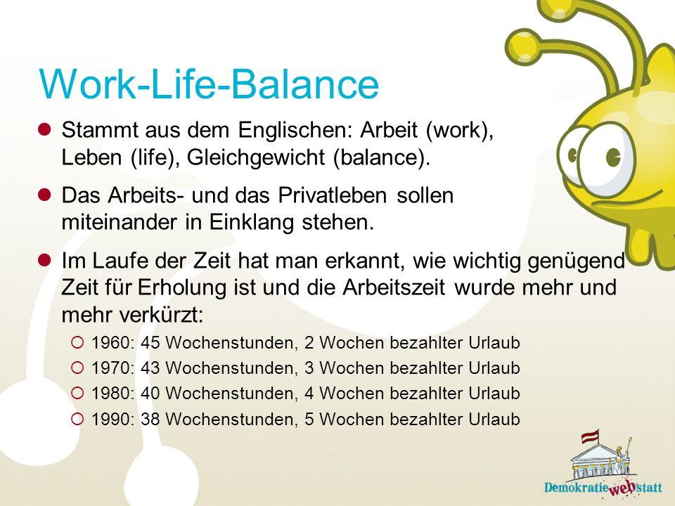 Stammt aus dem Englischen: Arbeit (work), Leben (life), Gleichgewicht (balance). Das Arbeits- und das Privatleben sollen miteinander in Einklang stehe