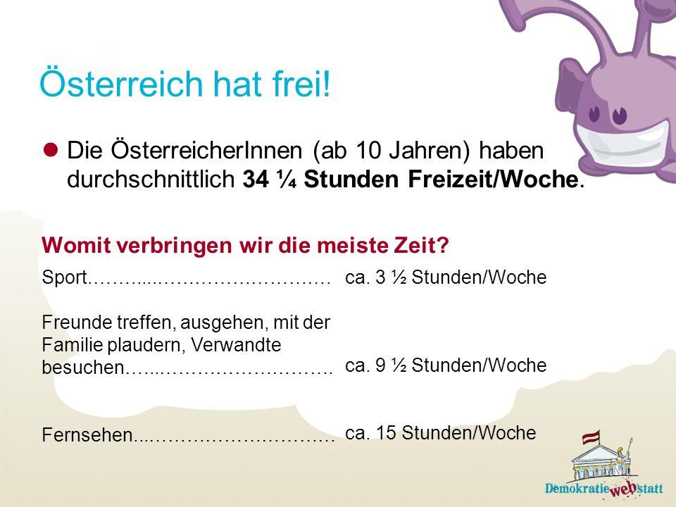 Österreich hat frei! Die ÖsterreicherInnen (ab 10 Jahren) haben durchschnittlich 34 ¼ Stunden Freizeit/Woche. Womit verbringen wir die meiste Zeit? Sp