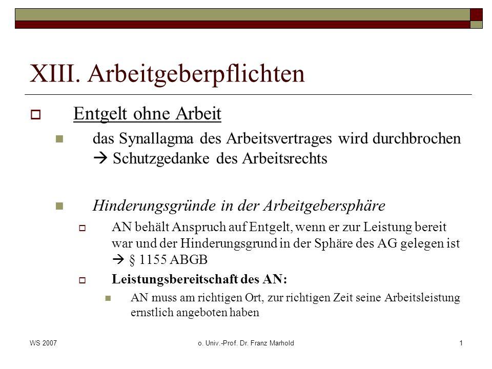 WS 2007o. Univ.-Prof. Dr. Franz Marhold1 XIII. Arbeitgeberpflichten Entgelt ohne Arbeit das Synallagma des Arbeitsvertrages wird durchbrochen Schutzge