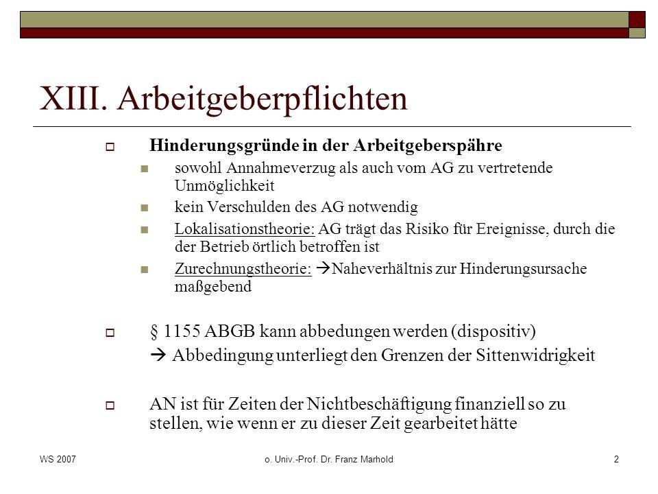 WS 2007o. Univ.-Prof. Dr. Franz Marhold2 XIII. Arbeitgeberpflichten Hinderungsgründe in der Arbeitgeberspähre sowohl Annahmeverzug als auch vom AG zu
