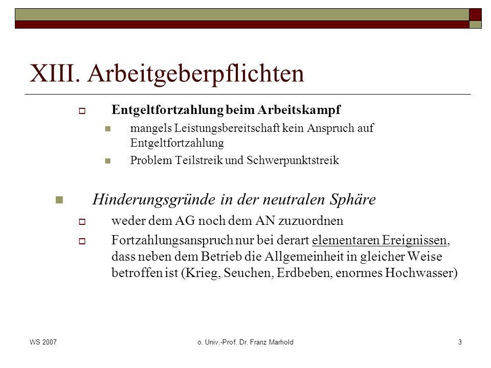 WS 2007o. Univ.-Prof. Dr. Franz Marhold3 XIII. Arbeitgeberpflichten Entgeltfortzahlung beim Arbeitskampf mangels Leistungsbereitschaft kein Anspruch a