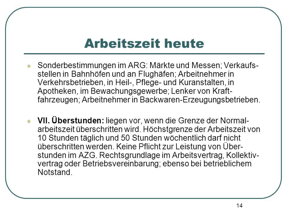 14 Arbeitszeit heute Sonderbestimmungen im ARG: Märkte und Messen; Verkaufs- stellen in Bahnhöfen und an Flughäfen; Arbeitnehmer in Verkehrsbetrieben,