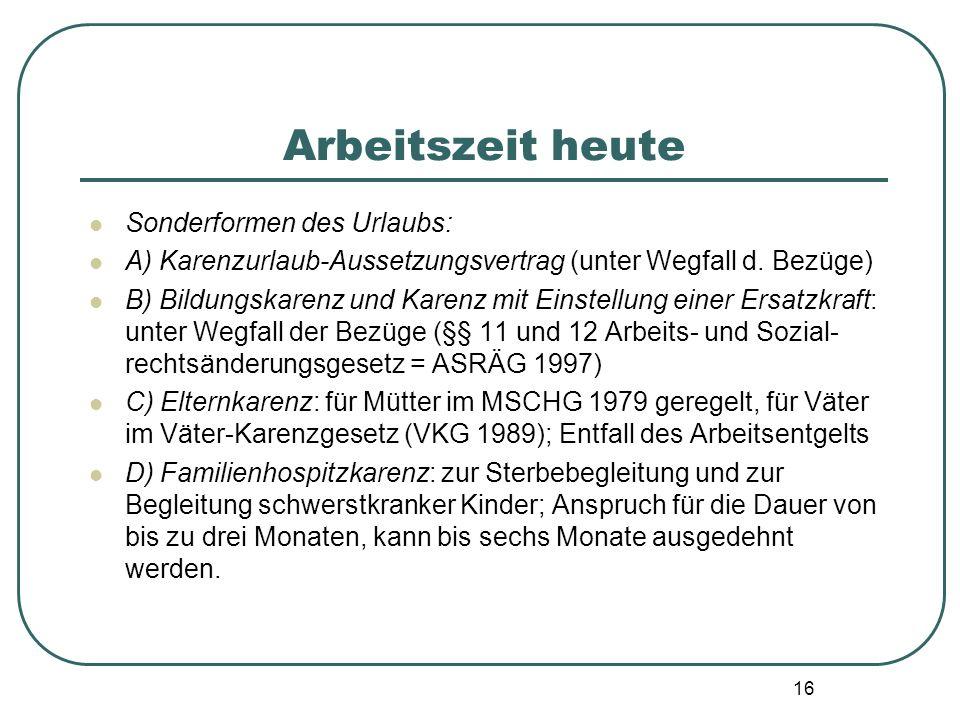 16 Arbeitszeit heute Sonderformen des Urlaubs: A) Karenzurlaub-Aussetzungsvertrag (unter Wegfall d. Bezüge) B) Bildungskarenz und Karenz mit Einstellu
