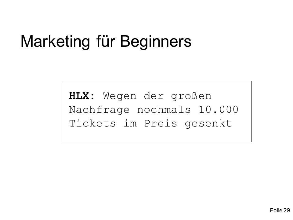 Folie 29 Marketing für Beginners HLX: Wegen der großen Nachfrage nochmals 10.000 Tickets im Preis gesenkt