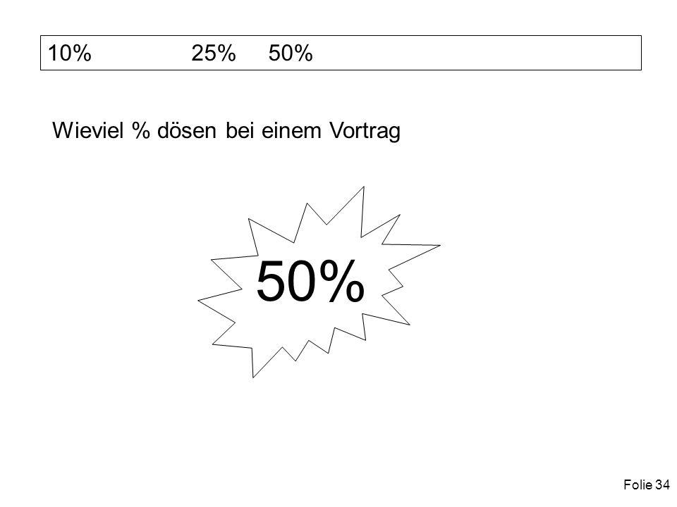 Folie 34 10% 25% 50% Wieviel % dösen bei einem Vortrag 50%