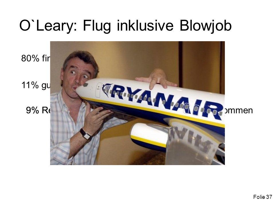Folie 37 O`Leary: Flug inklusive Blowjob 80% find ich gut, würde ich buchen (Optimisten) 11% gut, dass es nur ein Spaß ist (Pessimisten) 9% Realisten: Ich will nur schnell kommen 9% Realisten: Ich will nur schnell von A nach B kommen