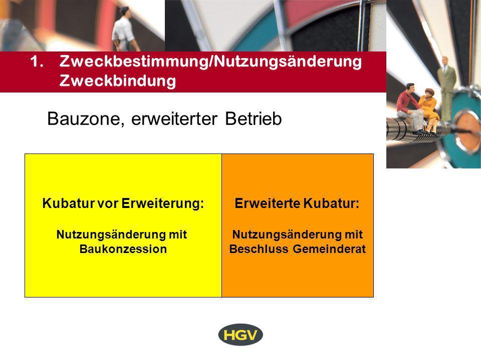 1.Zweckbestimmung/Nutzungsänderung Zweckbindung Bauzone: erweiterter Betrieb 60 % Konv.
