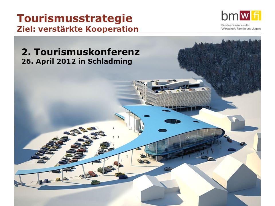15 Neuordnung des Tourismusmarketings als Chance für Aufschwung 2. Tourismuskonferenz 26. April 2012 in Schladming Tourismusstrategie Ziel: verstärkte