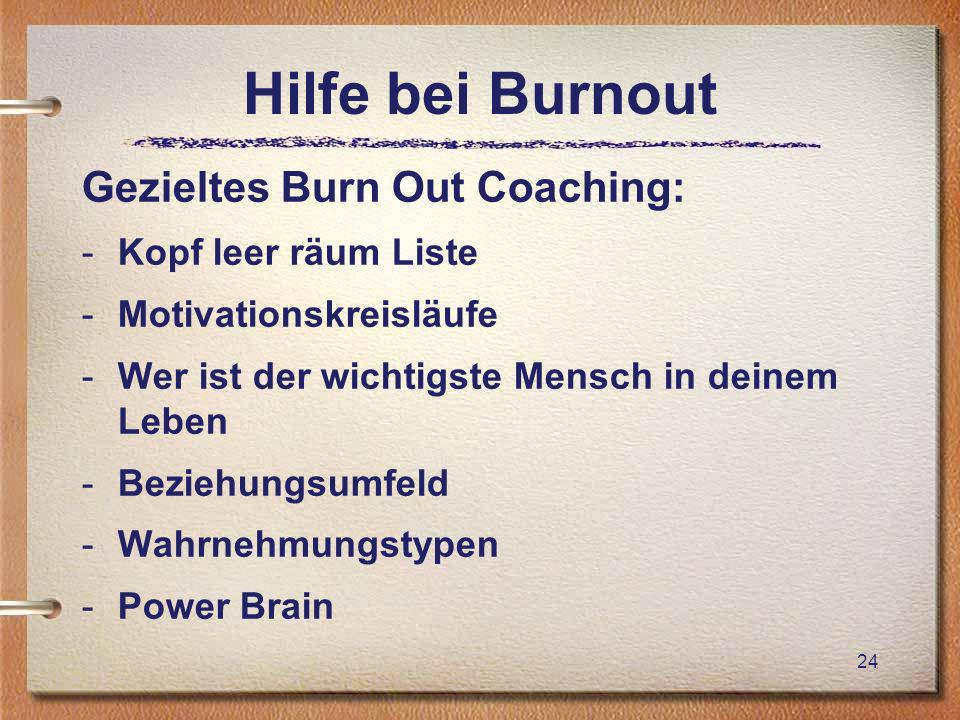 Hilfe bei Burnout Gezieltes Burn Out Coaching: -Kopf leer räum Liste -Motivationskreisläufe -Wer ist der wichtigste Mensch in deinem Leben -Beziehungs