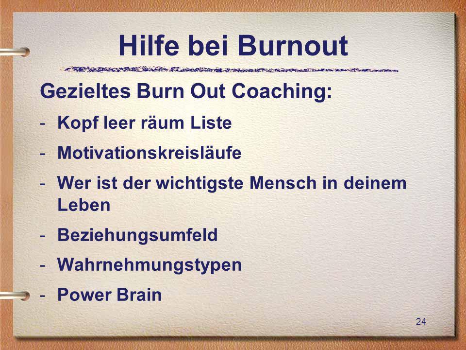 Hilfe bei Burnout Gezieltes Burn Out Coaching: -Kopf leer räum Liste -Motivationskreisläufe -Wer ist der wichtigste Mensch in deinem Leben -Beziehungsumfeld -Wahrnehmungstypen -Power Brain 24