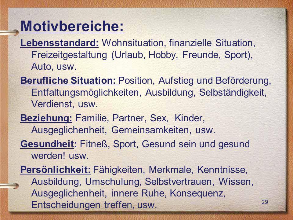 Motivbereiche: Lebensstandard: Wohnsituation, finanzielle Situation, Freizeitgestaltung (Urlaub, Hobby, Freunde, Sport), Auto, usw.