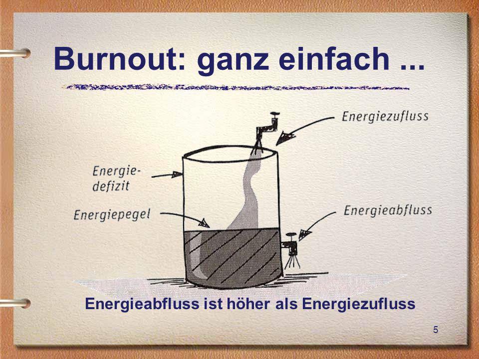 Burnout: ganz einfach... Energieabfluss ist höher als Energiezufluss 5