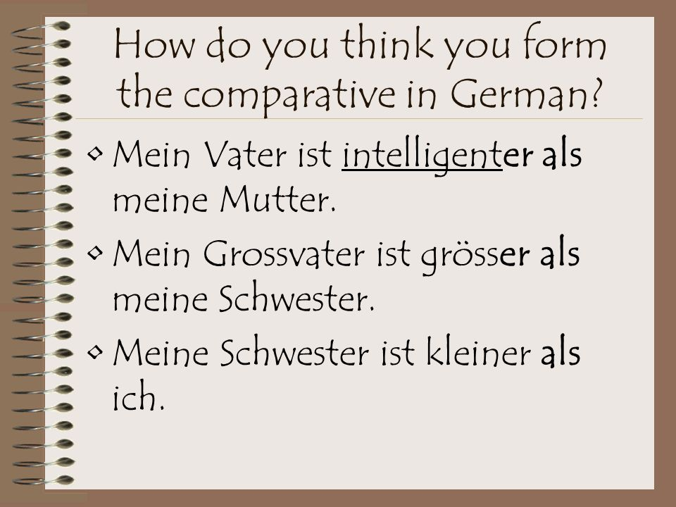 How do you form the comparative in German.