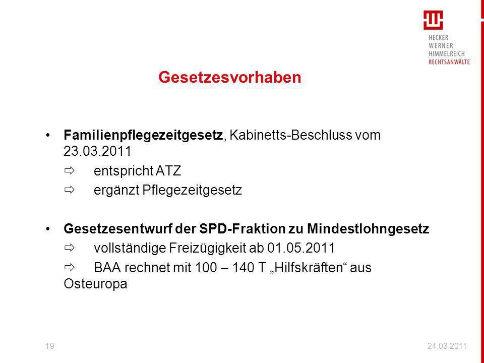 Gesetzesvorhaben Familienpflegezeitgesetz, Kabinetts-Beschluss vom 23.03.2011 entspricht ATZ ergänzt Pflegezeitgesetz Gesetzesentwurf der SPD-Fraktion