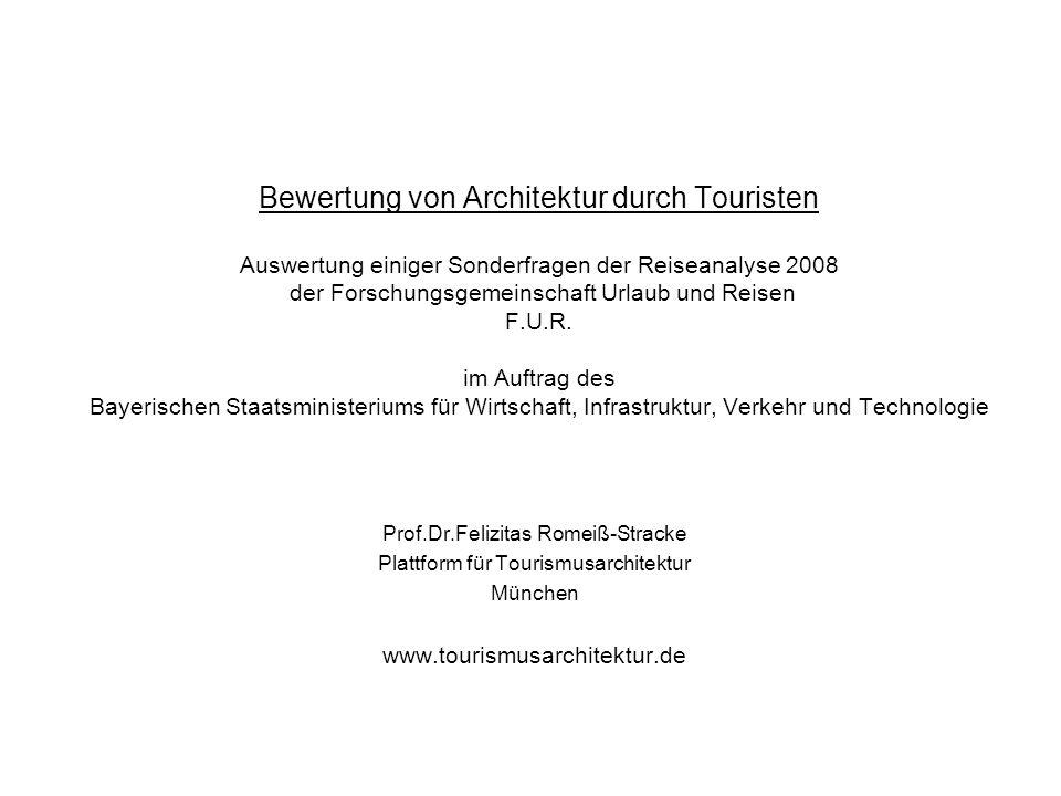 Bewertung von Architektur durch Touristen Auswertung einiger Sonderfragen der Reiseanalyse 2008 der Forschungsgemeinschaft Urlaub und Reisen F.U.R.