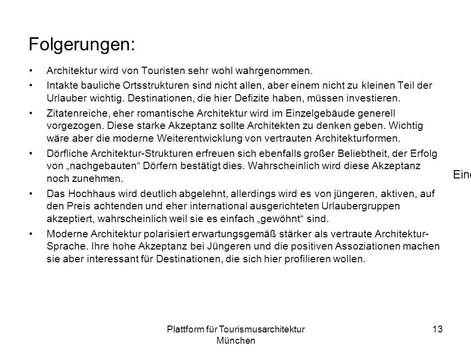 Plattform für Tourismusarchitektur München 13 Folgerungen: Architektur wird von Touristen sehr wohl wahrgenommen.