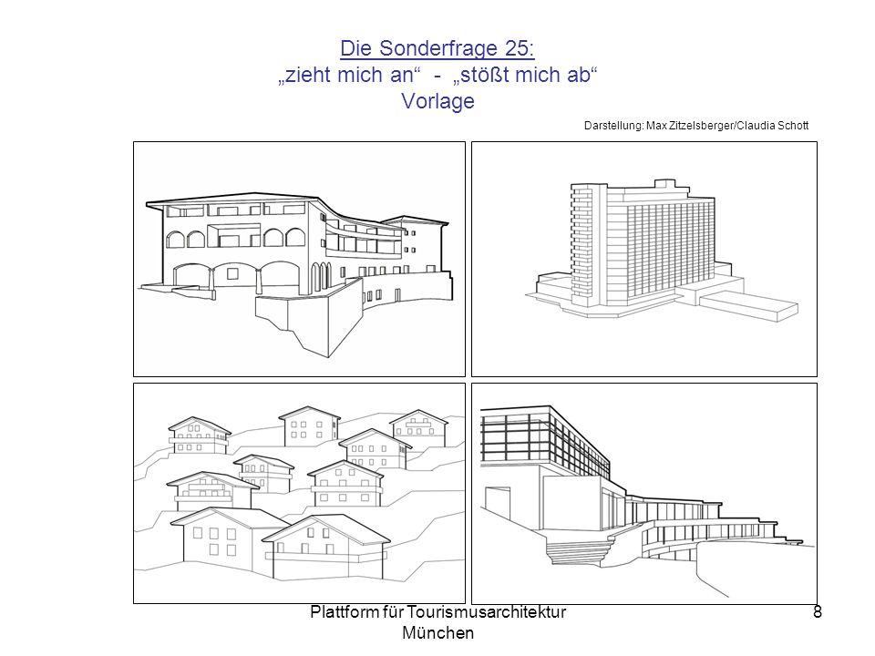 Plattform für Tourismusarchitektur München 8 Die Sonderfrage 25: zieht mich an - stößt mich ab Vorlage ´´ Darstellung: Max Zitzelsberger/Claudia Schott