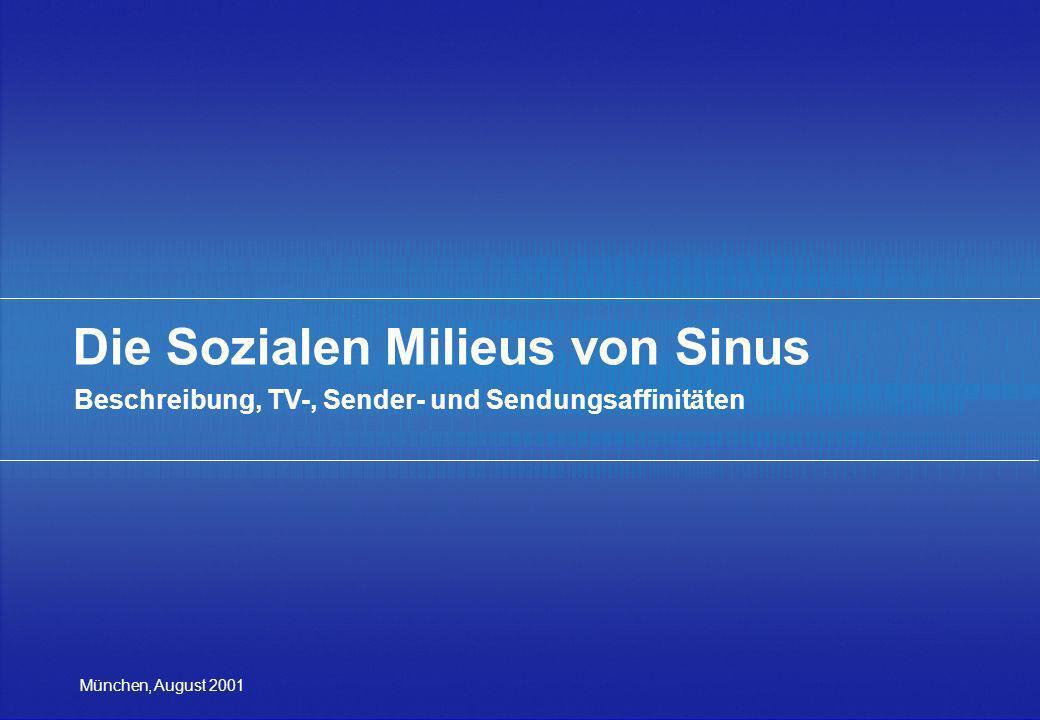 München, August 2001 Die Sozialen Milieus von Sinus Beschreibung, TV-, Sender- und Sendungsaffinitäten