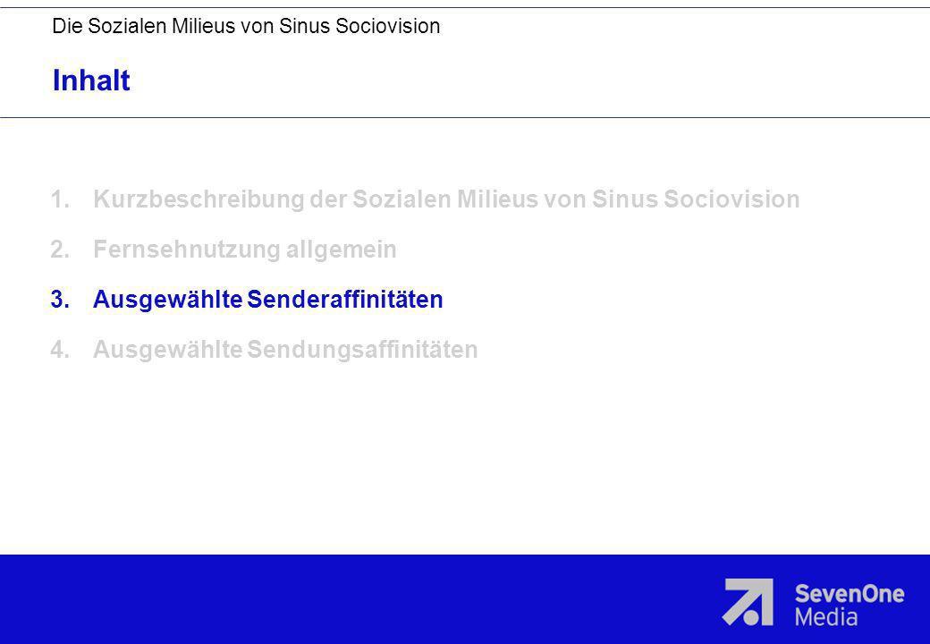 Inhalt Die Sozialen Milieus von Sinus Sociovision 1.Kurzbeschreibung der Sozialen Milieus von Sinus Sociovision 2.Fernsehnutzung allgemein 3.Ausgewähl