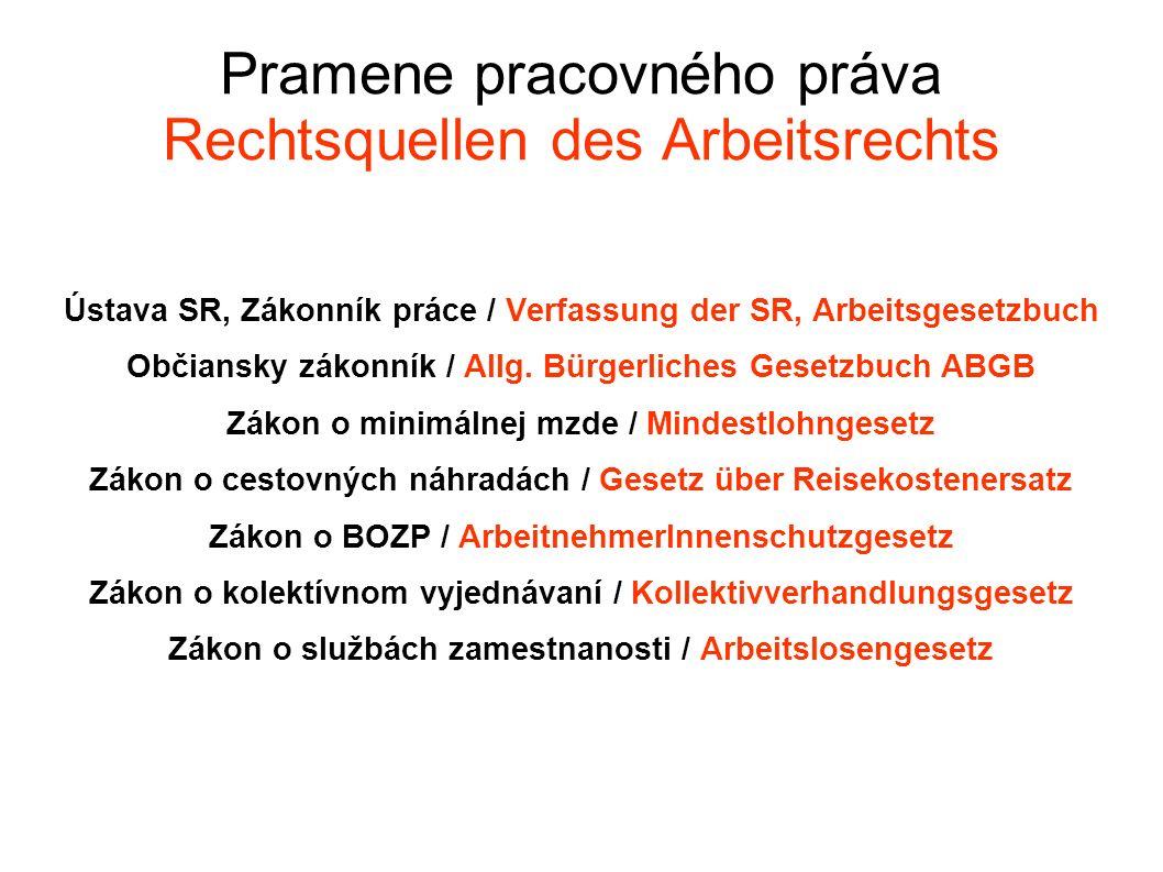 Pramene pracovného práva Rechtsquellen des Arbeitsrechts Ústava SR, Zákonník práce / Verfassung der SR, Arbeitsgesetzbuch Občiansky zákonník / Allg.