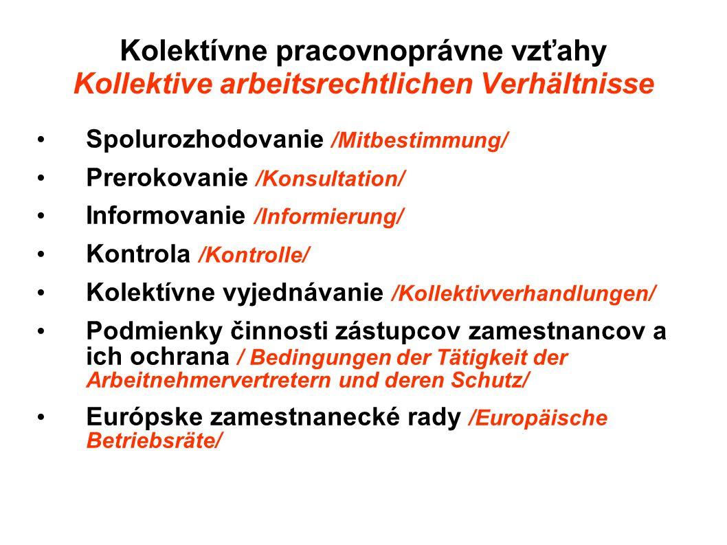 Kolektívne pracovnoprávne vzťahy Kollektive arbeitsrechtlichen Verhältnisse Spolurozhodovanie /Mitbestimmung/ Prerokovanie /Konsultation/ Informovanie
