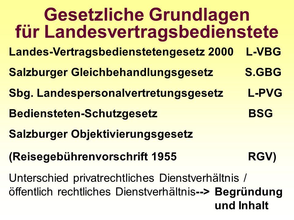 Gesetzliche Grundlagen für Landesvertragsbedienstete Landes-Vertragsbedienstetengesetz 2000 L-VBG Salzburger Gleichbehandlungsgesetz S.GBG Sbg. Landes