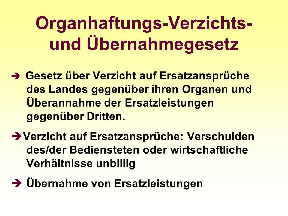 Organhaftungs-Verzichts- und Übernahmegesetz Gesetz über Verzicht auf Ersatzansprüche des Landes gegenüber ihren Organen und Überannahme der Ersatzlei