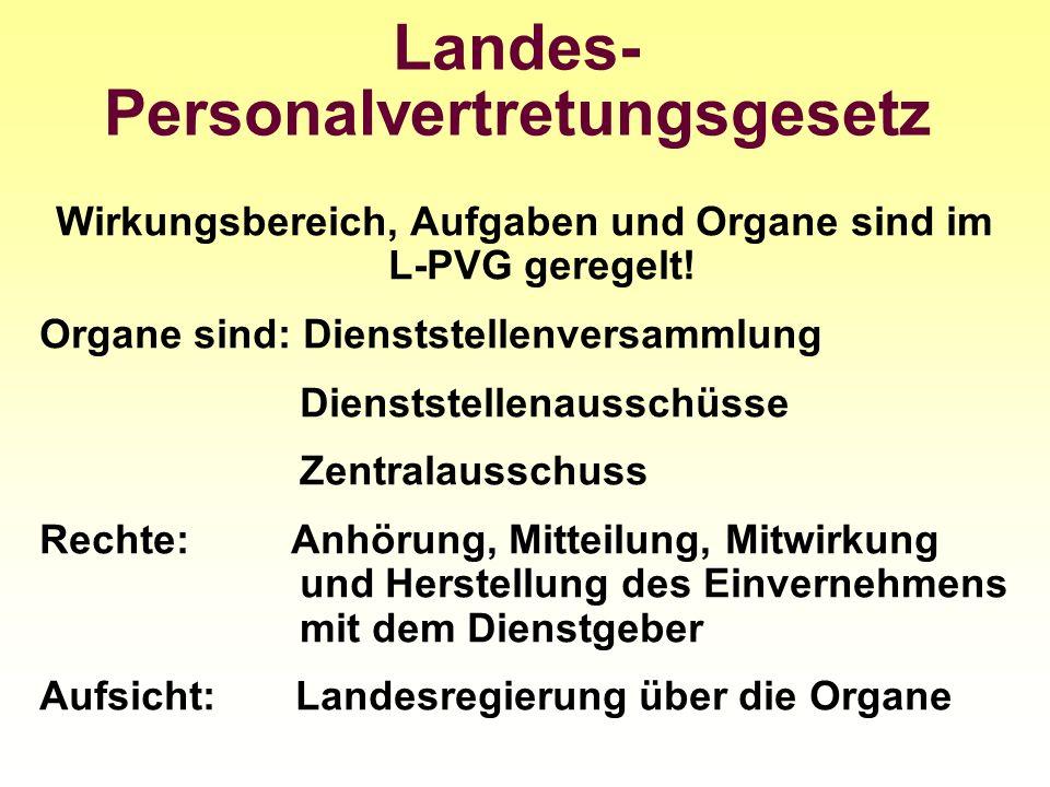 Landes- Personalvertretungsgesetz Wirkungsbereich, Aufgaben und Organe sind im L-PVG geregelt! Organe sind: Dienststellenversammlung Dienststellenauss