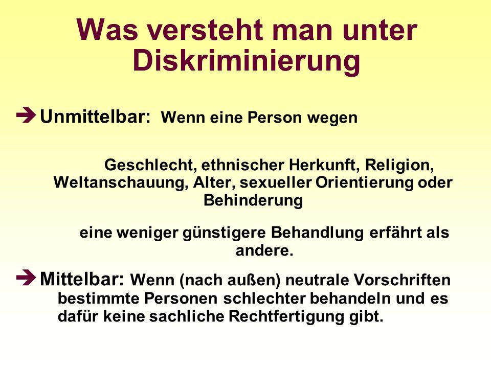 Was versteht man unter Diskriminierung Unmittelbar: Wenn eine Person wegen Geschlecht, ethnischer Herkunft, Religion, Weltanschauung, Alter, sexueller
