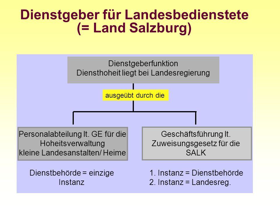Dienstgeber für Landesbedienstete (= Land Salzburg) Personalabteilung lt. GE für die Hoheitsverwaltung kleine Landesanstalten/ Heime Dienstgeberfunkti