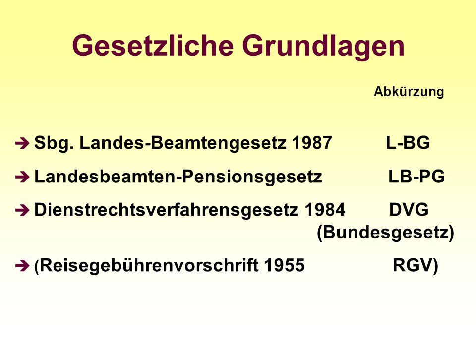 Gesetzliche Grundlagen Abkürzung Sbg. Landes-Beamtengesetz 1987 L-BG Landesbeamten-Pensionsgesetz LB-PG Dienstrechtsverfahrensgesetz 1984 DVG (Bundesg