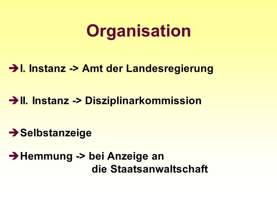 Organisation I. Instanz -> Amt der Landesregierung II. Instanz -> Disziplinarkommission Selbstanzeige Hemmung -> bei Anzeige an die Staatsanwaltschaft