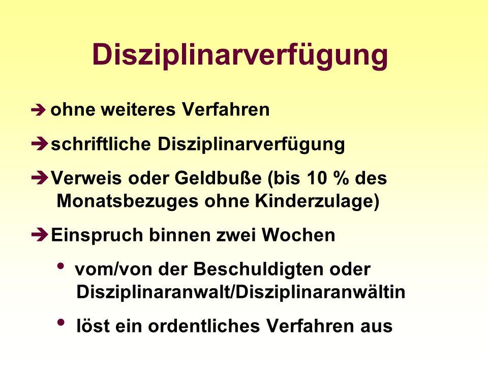Disziplinarverfügung ohne weiteres Verfahren schriftliche Disziplinarverfügung Verweis oder Geldbuße (bis 10 % des Monatsbezuges ohne Kinderzulage) Ei