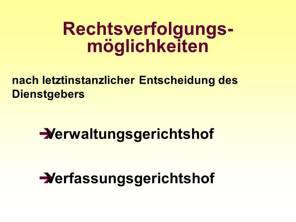 Rechtsverfolgungs- möglichkeiten nach letztinstanzlicher Entscheidung des Dienstgebers Verwaltungsgerichtshof Verfassungsgerichtshof